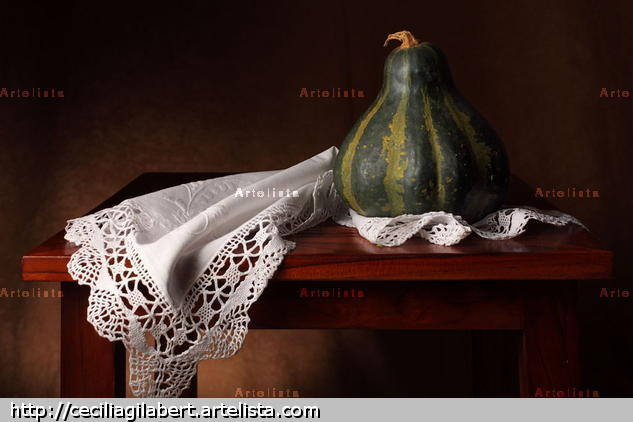 Bodegón de paño y calabaza verde Color (Digital) Still lifes