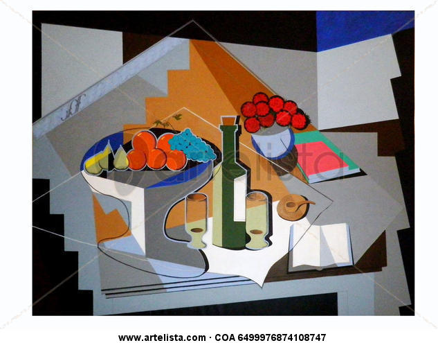 Interior con frutero y florero Canvas Acrylic Still Life Paintings