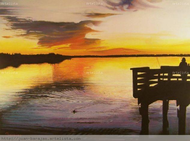 Un Momento de Paz en Lake Casa Blanca Pastel Paper Landscaping