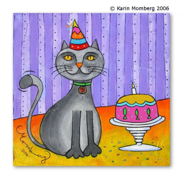 Happy Cat's Day Acrílico Animales Lienzo