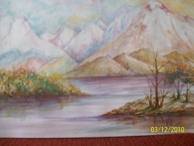 Paisaje lacustre Watercolour Canvas Landscaping
