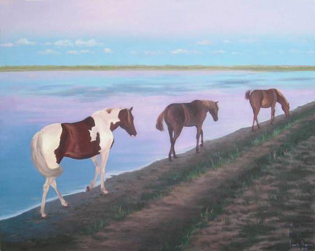 caballos al amanecer