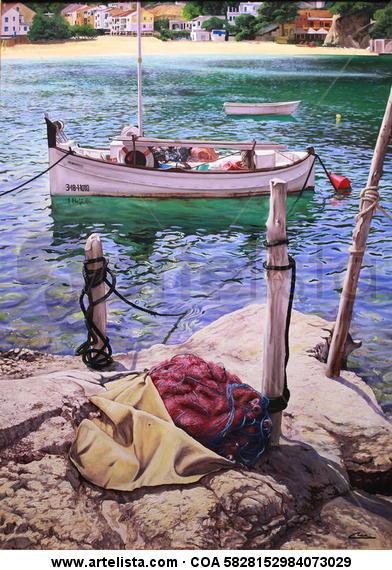 Barcas en Cala Vadella 2 (IBIZA) Canvas Oil Landscaping