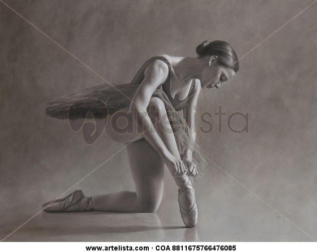 Bailarina en monocromo II Canvas Oil Figure Painting