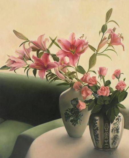 Jarrones de flores Óleo Lienzo Floral