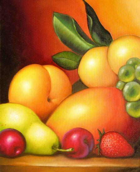 Frutas coloridas Óleo Lienzo Bodegones