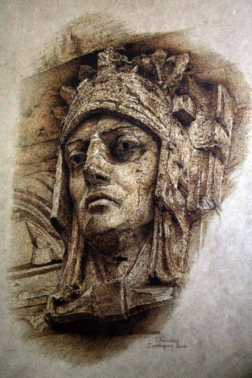 Pirograbado I. 61 x 44 cm. Pirograbado en madera Rotogravure