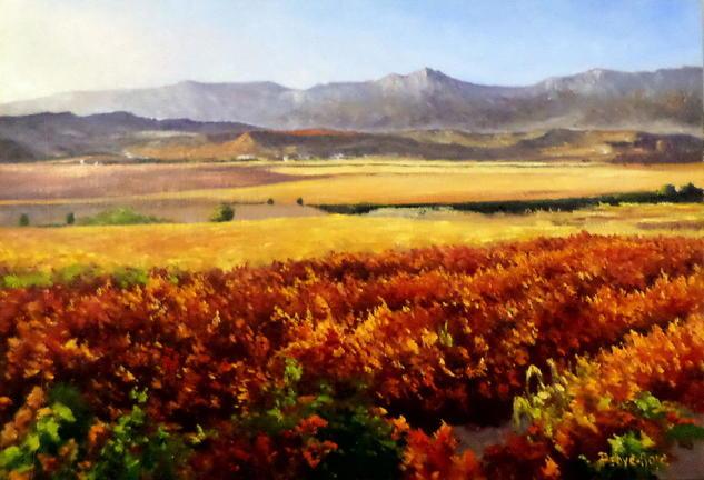 La viña roja Óleo Paisaje Lienzo