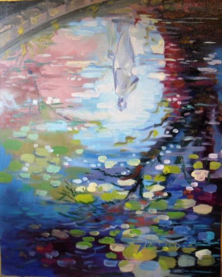 Reflejos en el estanque juan manuel perez torres for Pintura para estanques