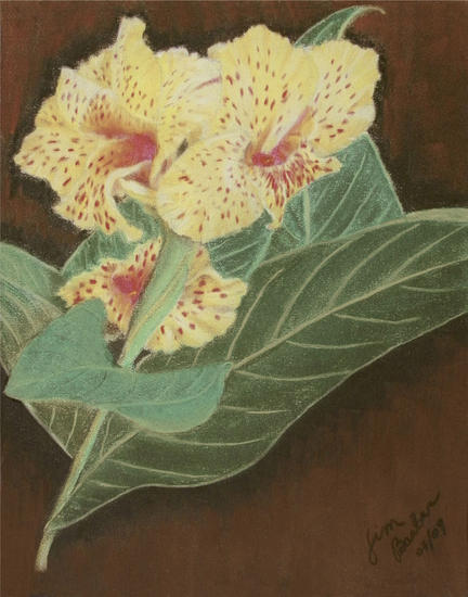 Chachalacas Paper Pastel Floral Painting