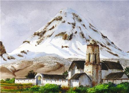 cunbre andina Acuarela Papel Paisaje