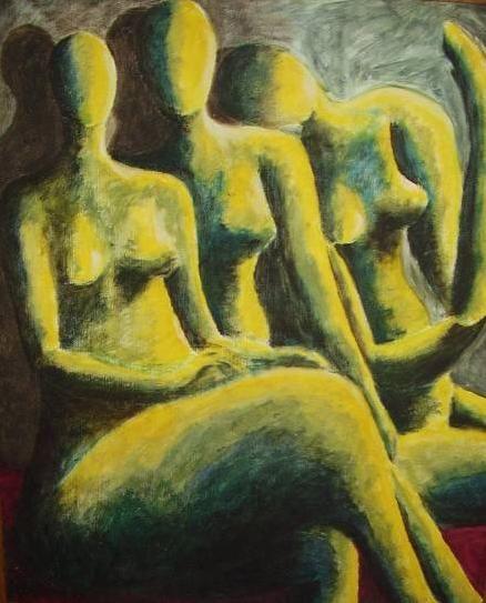trio Óleo Tabla Desnudos