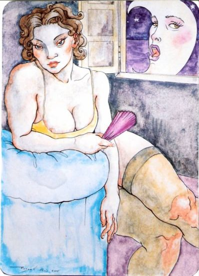 Femme et  Lune Watercolour Others Nude Paintings