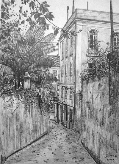 Calle de Sintra Papel Grafito Paisaje