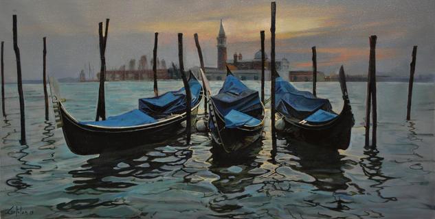 Tres Gondolas en Venezia Lienzo Marina Óleo