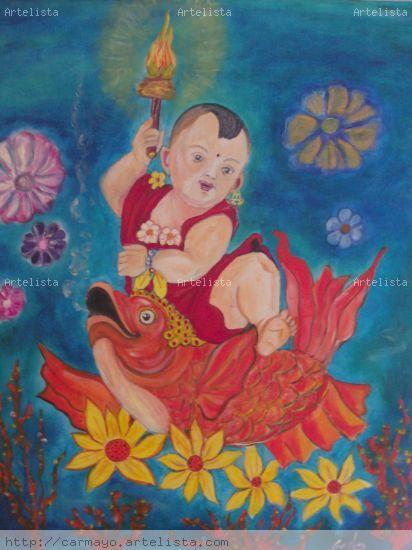 Pequeño Buda Óleo Lienzo Figura