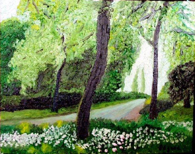 GREEN ROAD Oil Canvas Landscaping