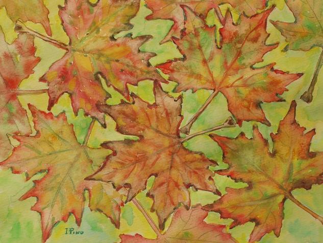 Hojas de otoño Floral Acuarela Papel