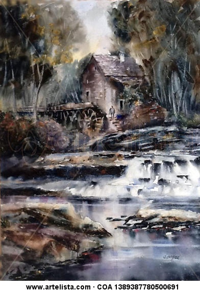 Molino de agua Paper Watercolour Landscaping