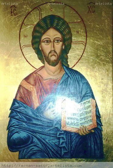 Icono de Cristo. Tabla dorada con pan de oro. Por encargo. Media Mixta Tabla Figura