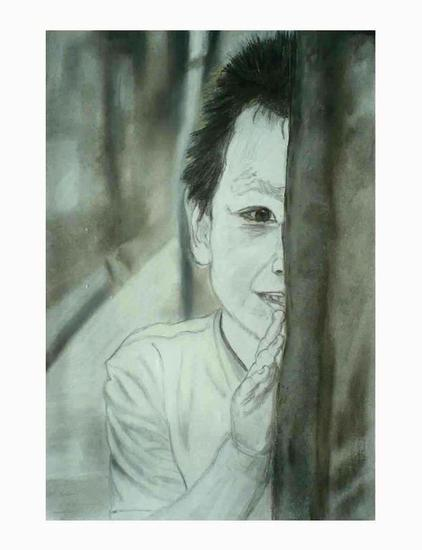 Chinese boy hiding Papel Pastel Retrato