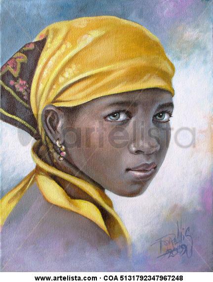 Niña de raza negra 13 Lienzo Acrílico Retrato