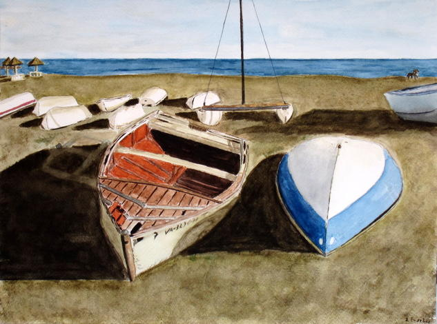 barca rota Papel Acuarela Marina