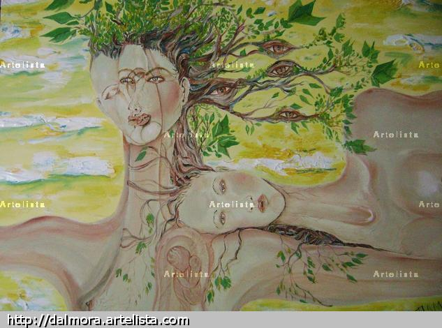 El femenino del arbol Figura Acrlico Lienzo