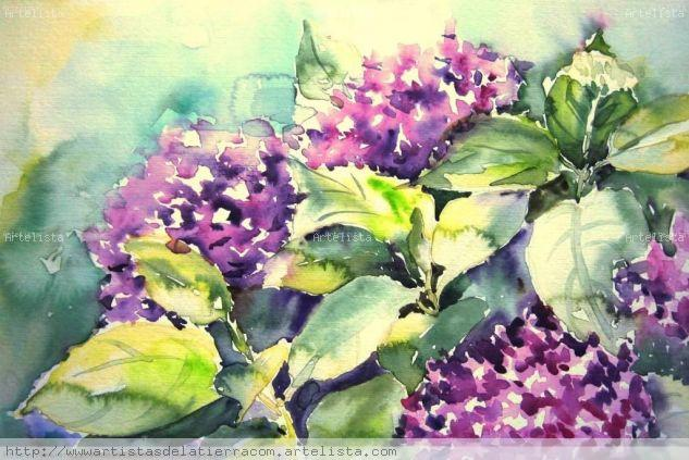 HORTENSIAS Acuarela Papel Floral