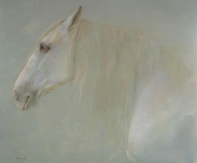 CABALLO SOBRE GRIS Oil Canvas Figure Painting