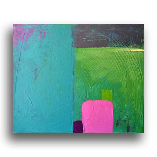 Pintura abstracta en acr lico sobre lienzo cromoterapia for Pintura turquesa pared