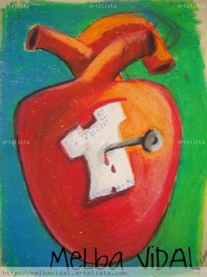 Corazon con huipil Oil Paper Figure Painting