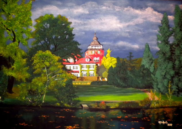 Schloss Lerbach Landscaping Acrylic Canvas
