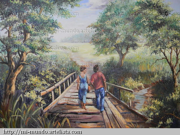 Da de San Valentin Oil Canvas Landscaping