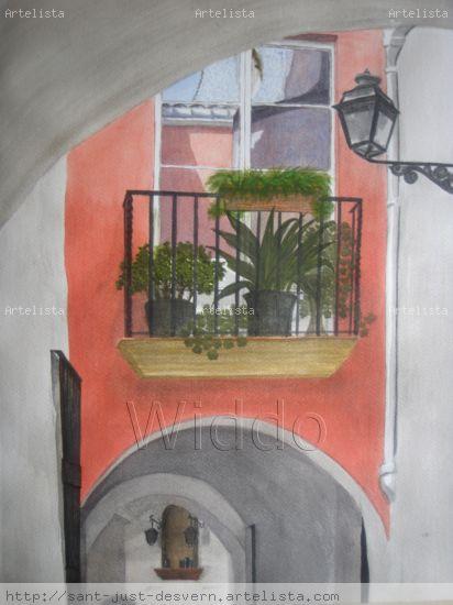 callejón de Torredembarra (Costa Dorada) Acuarela Papel Paisaje