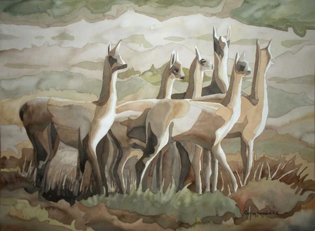Telar andino Paper Watercolour Animals