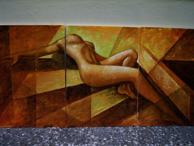 entre prismas Óleo Lienzo Desnudos