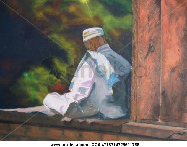 El meditante inacabado. Lienzo Óleo Figura
