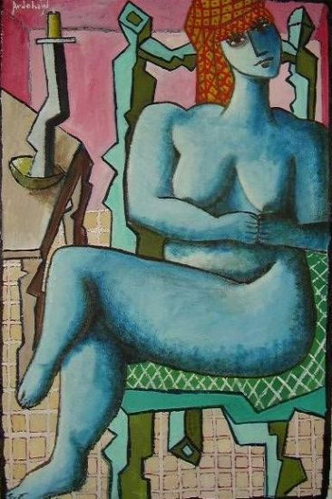 mujer con turbante y vela Óleo Papel Desnudos