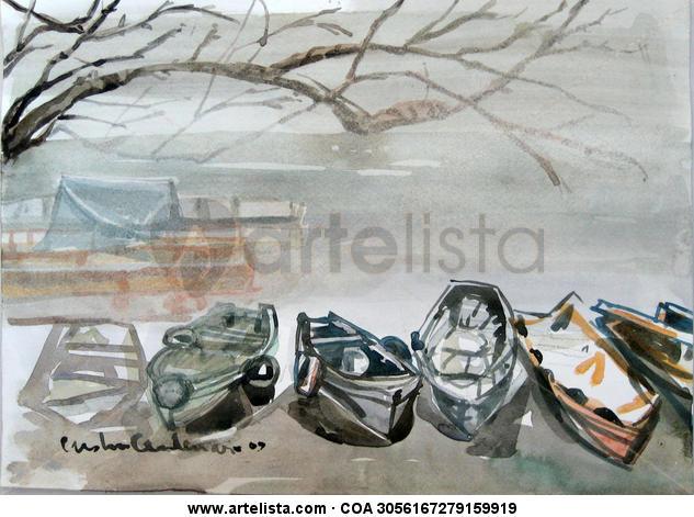 Botes azulinos Papel Acuarela Marina