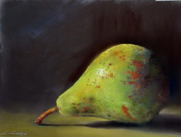 Pera Still Life Paintings Pastel Paper