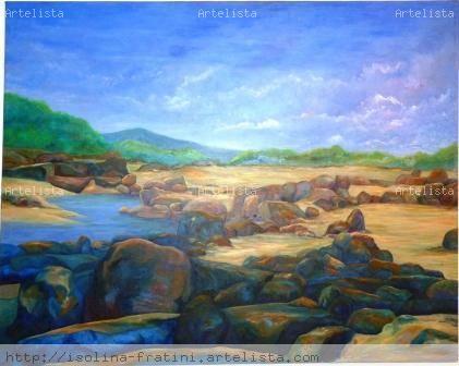 Sequía, río Caroní, Bolívar, Venezuela Canvas Oil Landscaping