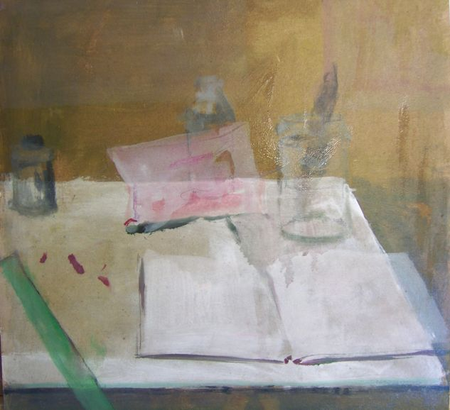 regla verde 2 Still Life Paintings Panel Acrylic