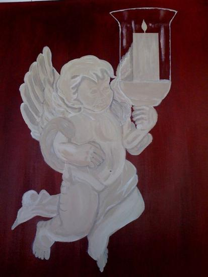 the angel.el angelito Canvas Acrylic Figure Painting