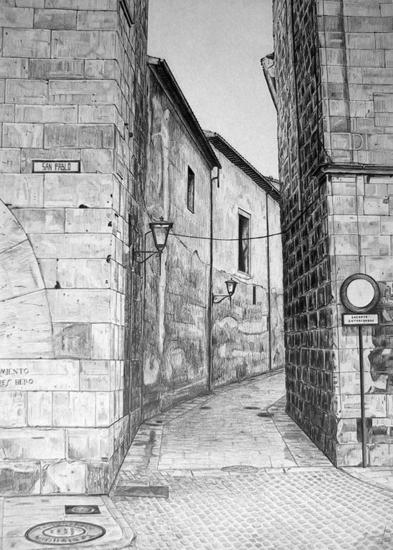 Calle de Salamanca II Papel Grafito Paisaje