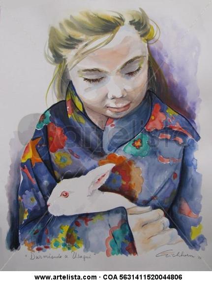 Durmiendo a Usagui Watercolour Canvas Figure Painting