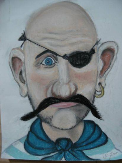 Pirata Olho de Vidro Pastel Cartulina Figura