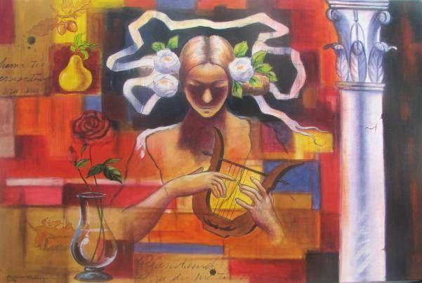 Pintor Dominicano Media Mixta Lienzo Figura