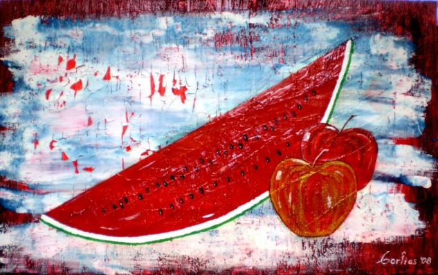 sandia con manzanas Media Mixta Lienzo Bodegones