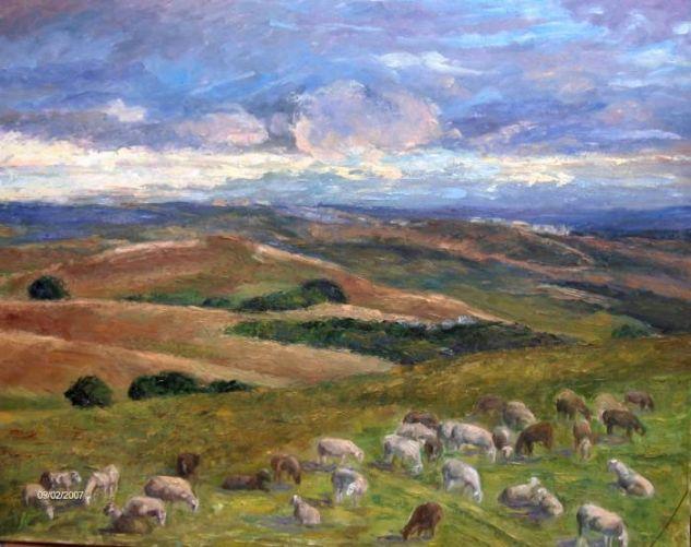 El rebaño Canvas Oil Landscaping